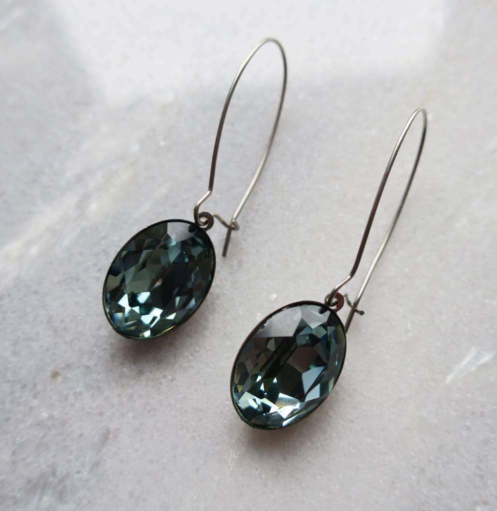 Melissa Kandiyoti Crystal Earrings Green