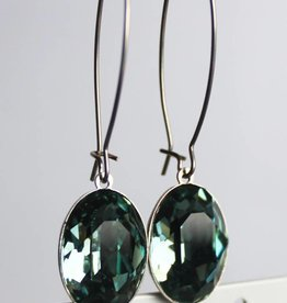 Melissa Kandiyoti Crystal Earrings Green