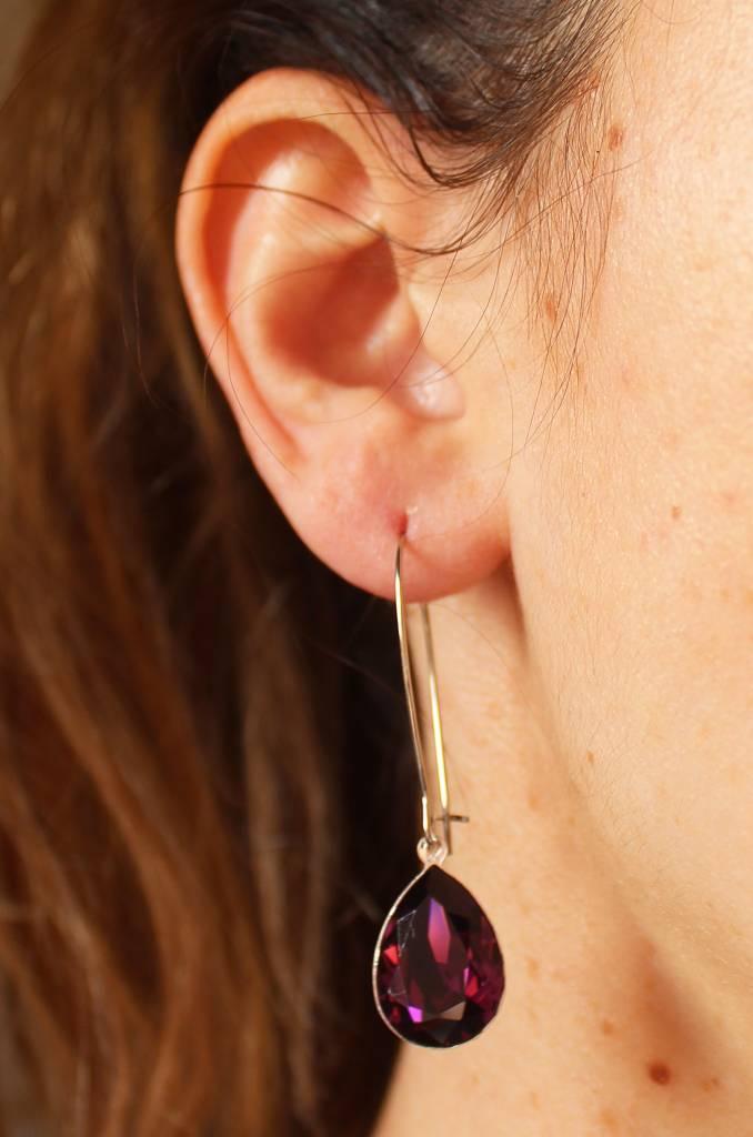 Melissa Kandiyoti Crystal Earrings Purple