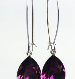 Melissa Kandiyoti Crystal Earrings Purple