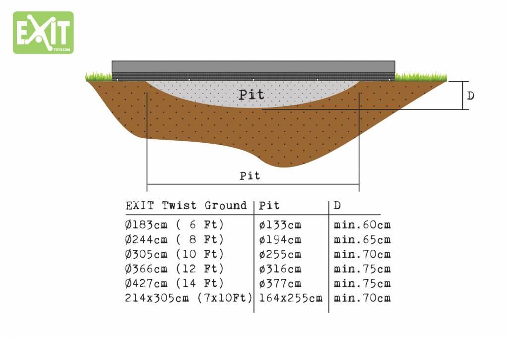 Exit Toys Trampoline Twist Inground 214x305 (groen/grijs)
