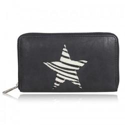 Zwarte portemonnee met zebra ster