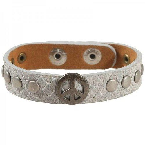 Peace armband grijs