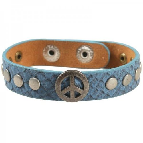 Peace armband blauw