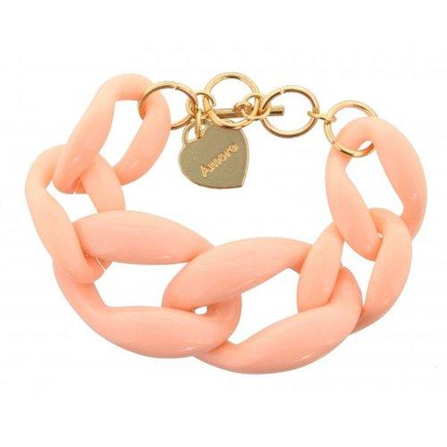 Armband gevlochten roze