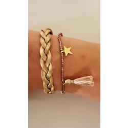 Goudgetinte armbanden set