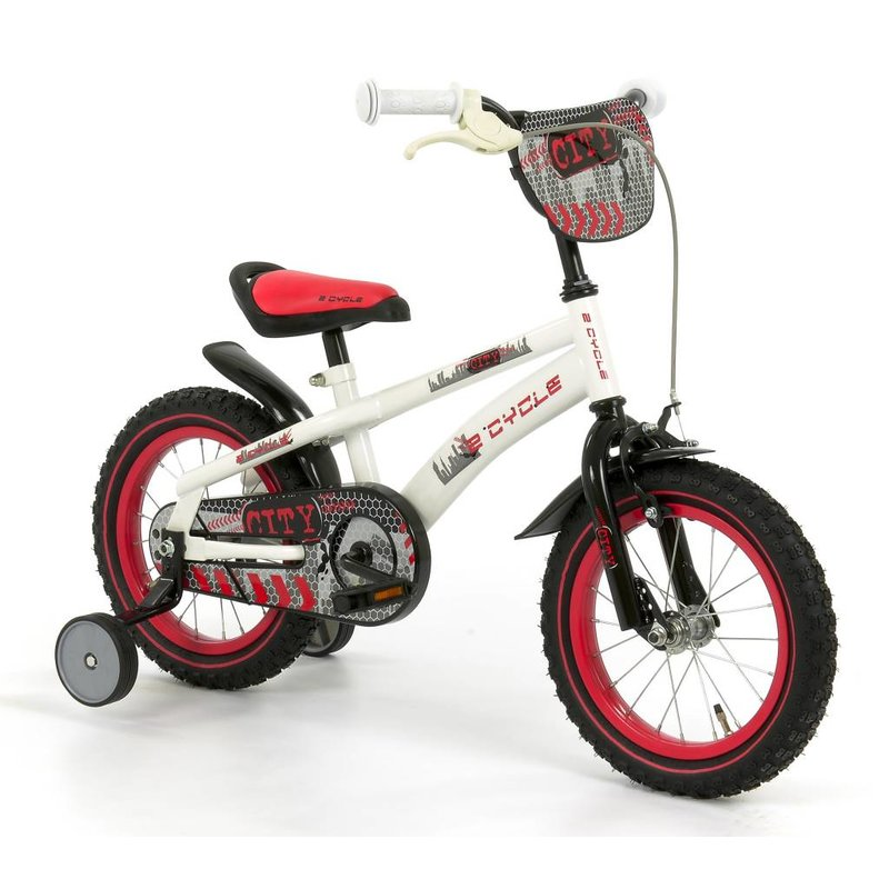 2Cycle Jongensfiets 14 inch City wit-rood (1440)