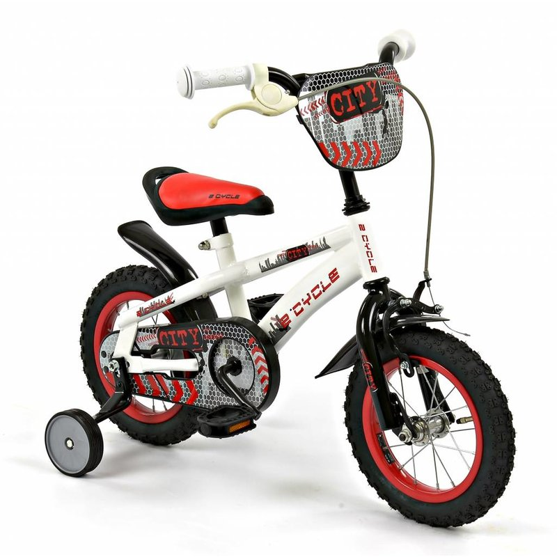 2Cycle Jongensfiets 12 inch City wit-rood (1240)
