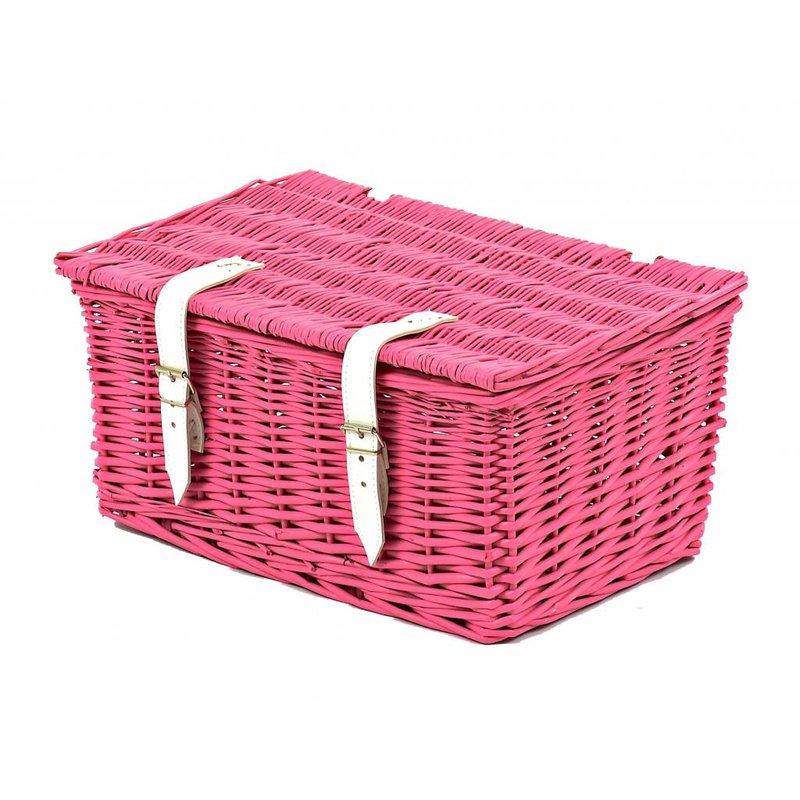 2Cycle Fietsmand roze met deksel klein (1084)