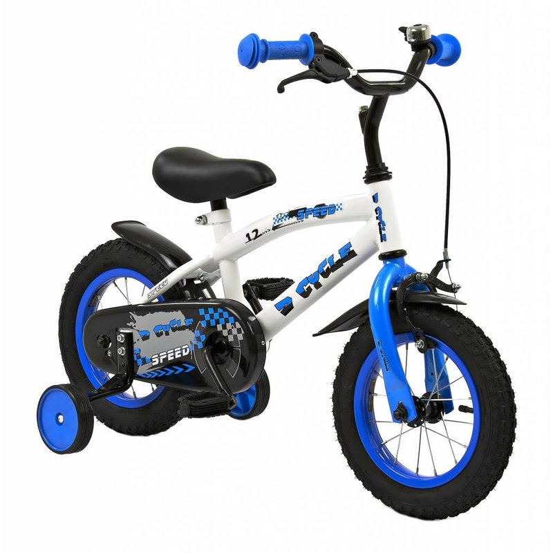 2Cycle Jongensfiets 12 inch Speed blauw-wit (1230)