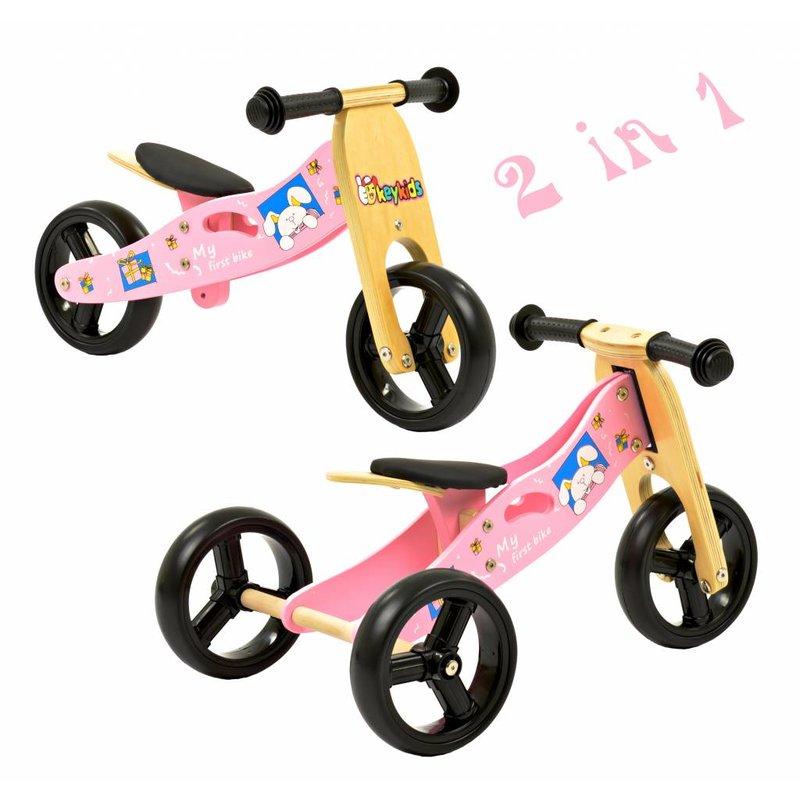 2Cycle 2 in 1 Houten Loopfiets / Driewieler roze 1321