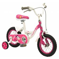 2Cycle Meisjesfiets 12 inch Puppy wit-roze