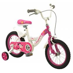 2Cycle Meisjesfiets 14 inch Puppy wit-roze
