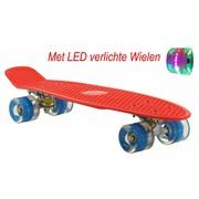 2Cycle Skateboard Rood-Blauw met LED wielen 22.5 inch