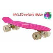 2Cycle Skateboard Roze-Wit met LED wielen 22.5 inch
