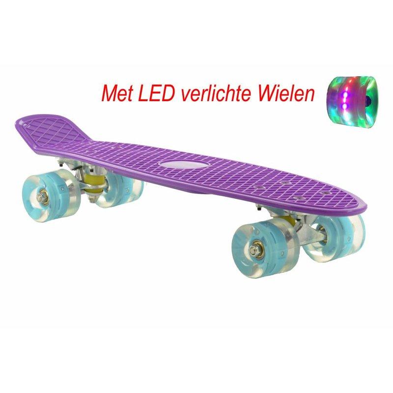 2Cycle Skateboard Paars-Blauw met LED wielen 22.5 inch (3107)