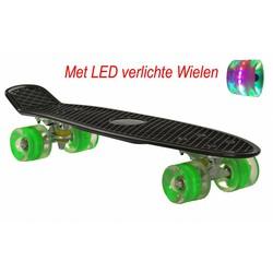 2Cycle Skateboard Zwart-Groen met LED wielen 22.5 inch