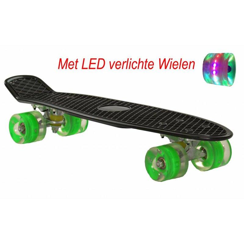 2Cycle Skateboard Zwart-Groen met LED wielen 22.5 inch (3112)