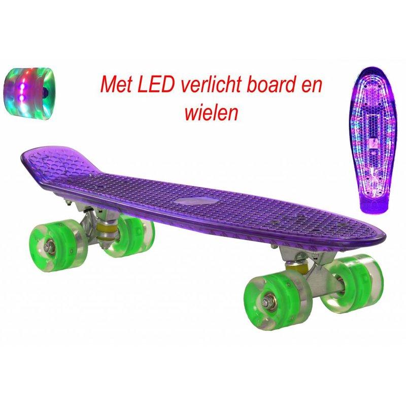 2Cycle Skateboard Paars met LED Board en LED wielen (3113)
