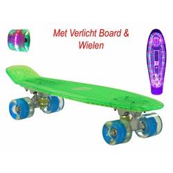 2Cycle Skateboard Groen met LED Board en LED wielen