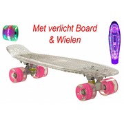2Cycle Skateboard Transparant met LED Board en LED wielen