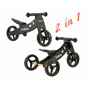 2Cycle Loopfiets-Driewieler Hout 2 in 1 zwart