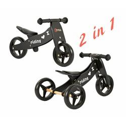 2Cycle Loopfiets-Driewieler Hout 2 in 1 zwart