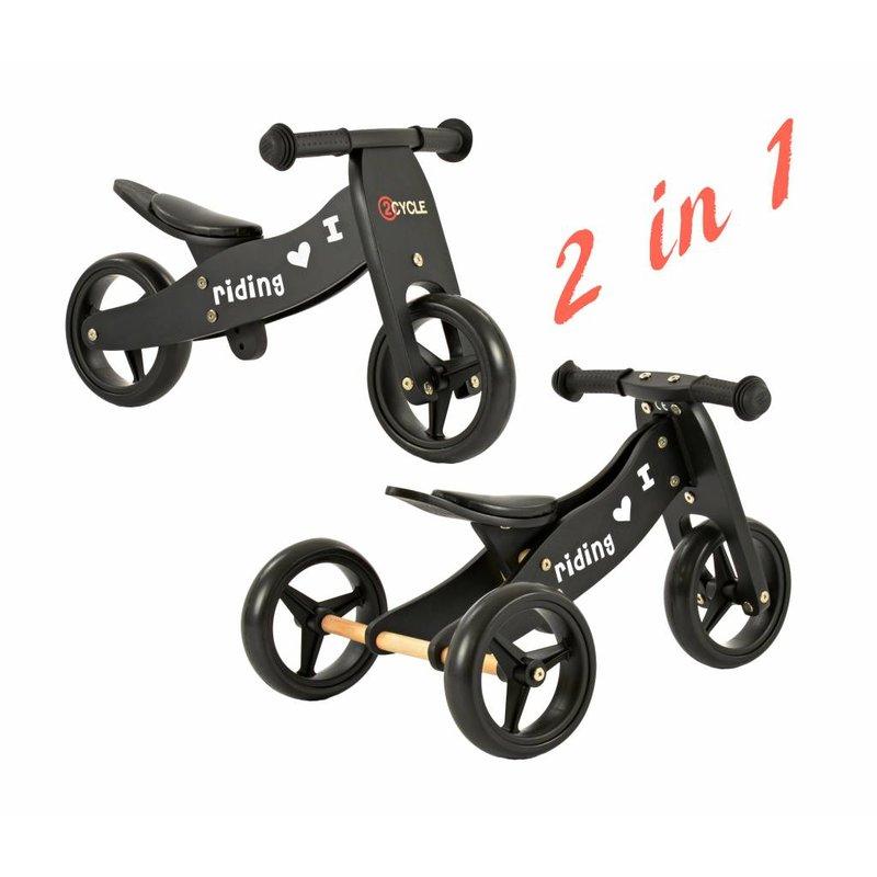 2Cycle Loopfiets-Driewieler Hout 2 in 1 zwart (1325)
