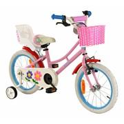 2Cycle Meisjesfiets 16 inch roze-blauw met Poppenzitje