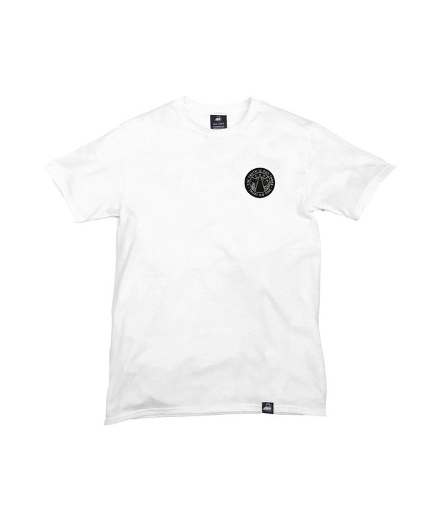Iron & Stitch White Organic Cotton Tee + Trust No One Patch (L)