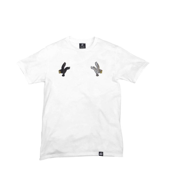 Iron & Stitch White Organic Cotton Tee + Eagles Patch Pack (L)