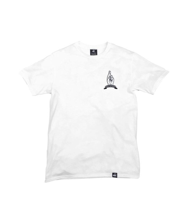 Iron & Stitch White Organic Cotton Tee + Create Your Own Luck Patch (L)