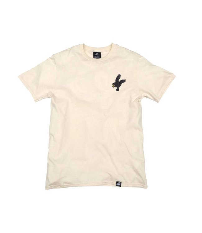 Iron & Stitch Natural Organic Cotton Tee + Black Eagle Patch (L)
