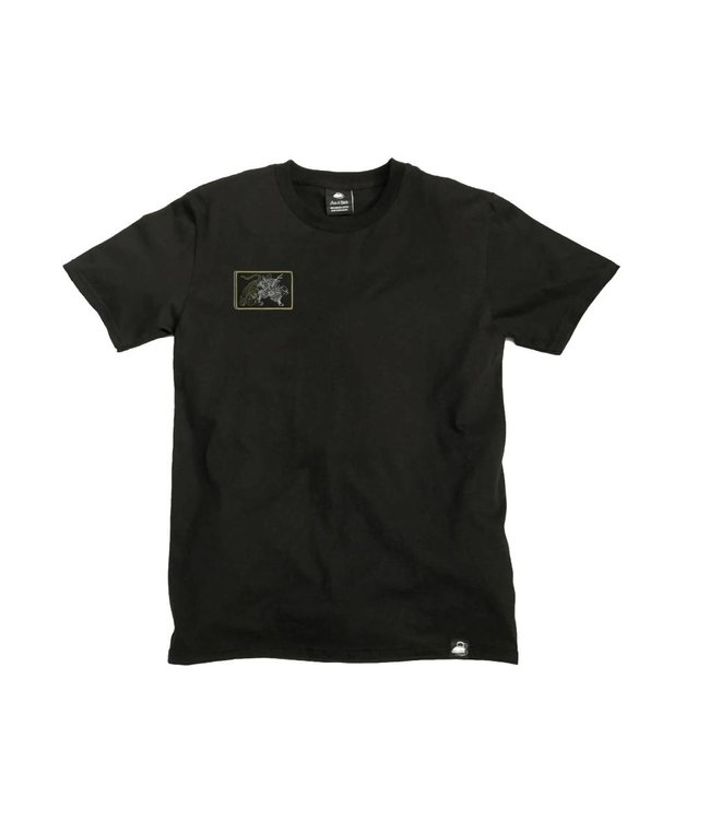 Iron & Stitch Black Organic Cotton Tee + Samurai Patch (R)