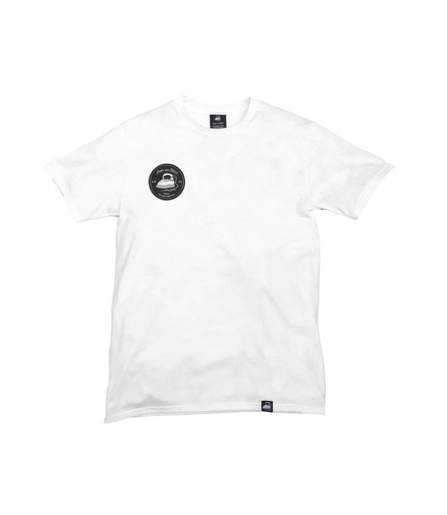 Iron & Stitch White Organic Cotton Tee + Iron & Stitch Logo Patch (R)
