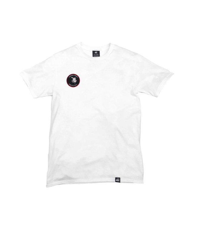 Iron & Stitch White Organic Cotton Tee + Whispering Tongues Patch (R)