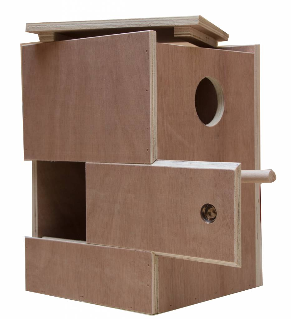 Nestkast voor de Roodrug parkiet