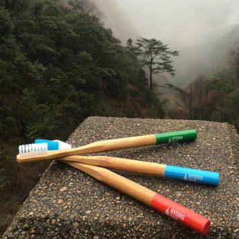 Zahnbürste mit Bambusgriff - Farbe blau
