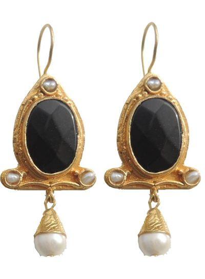 Adamarina Abril Onix and Pearl Earrings