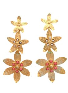 Adamarina Saffron Coral Earrings