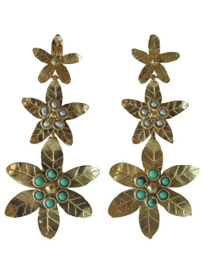 Adamarina Saffron Turquoise Earrings