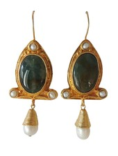 Adamarina Abril Green Earrings