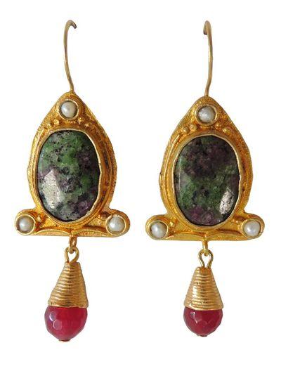 Adamarina Abril Green Jaspe Earrings