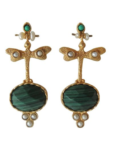 Adamarina Lucia Green Earrings