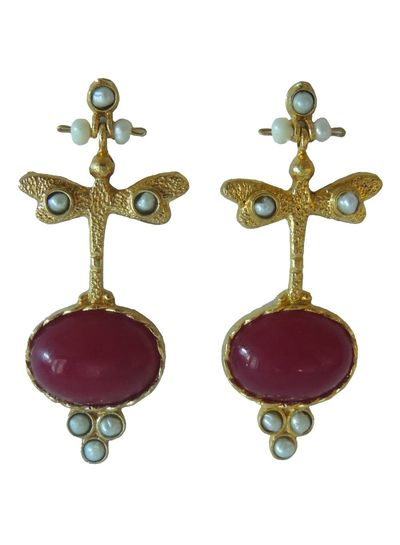 Adamarina Lucia Garnet Earrings