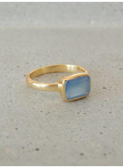 Adamarina Siren Blue Chalcedony Ring