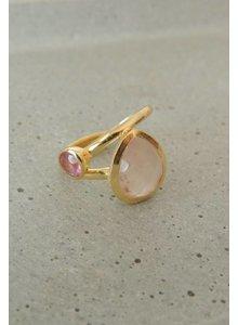 Adamarina Pink Duo Rings