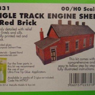Metcalfe Metcalfe PO331 Eingleisiger Lokschuppen in rotem Backstein (Baugröße H0/OO)