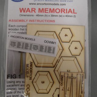 Ancorton Models War Memorial, laser cut kit, H0/OO