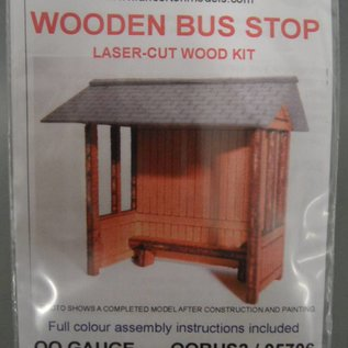 Ancorton Models Wooden built bus stop - laser cut kit, H0/OO scale